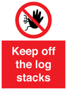 <p>Keep off the log stacks</p> Text: