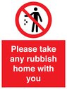 <p>Please take any rubbish home with you</p> Text: