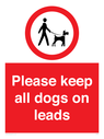 <p>Please keep all dogs on leads</p> Text: