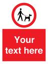 <p>Custom Road regulatory dogs on leads</p> Text: