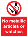 <p>No metallic articles or watches</p> Text:
