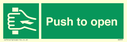<p>Push to open with hand symbol</p> Text: push to open