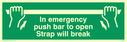 <p>In emergency push bar strap will break</p> Text: in emergency push bar to open. strap will break.
