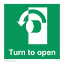 <p>turn to open with arrow anti-clockwise</p> Text: turn to open