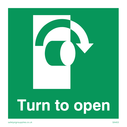 <p>Turn to open with arrow clockwise</p> Text: turn to open