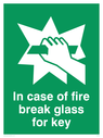 hand breaking glass Text: in case of fire break glass for key