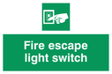 """fire escape light switch"" with finger flicking switch symbol Text: fire escape light switch"