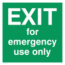 white text on green Text: exit for emergency use only