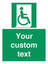 <p>Custom sign safe condition Emergency exit for people unable to walk or with walking impairment (right)</p> Text: