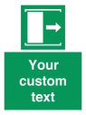 <p>Custom sign safe condition Door slides right to open</p> Text: