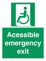 <p>Acessible emergency exit (left)</p> Text: