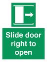 <p>Slide door right to open</p> Text: