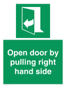 <p>Open door by pulling right hand side</p> Text: