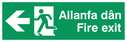 bi-lingual - welsh / english with running man symbol and arrow pointing left Text: allanfa dan fire exit