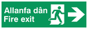 bi-lingual - welsh / english with running man symbol and arrow pointing right Text: allanfa dan / fire exit