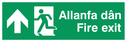bi-lingual - welsh / english with running man symbol facing right and arrow pointing up Text: allanfa dan fire exit