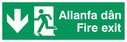 bi-lingual - welsh / english with running man symbol facing left and arrow pointing down Text: allanfa dan fire exit