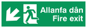 bi-lingual - welsh / english with running man symbol facing left and arrow pointing diagonally down and left Text: allanfa dan fire exit