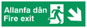 bi-lingual - welsh / english with running man symbol facing right and arrow pointing diagonally down and right Text: allanfa dan fire exit