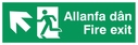 bi-lingual - welsh / english with running man symbol facing left and arrow pointing diagonally left and up Text: allanfa dan fire exit