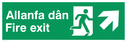 bi-lingual - welsh / english with running man symbol facing right and arrow pointing diagonally right and up Text: allanfa dan fire exit