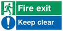 Fire Exit Keep Clear dual safety sign: running man facing right and exclaimation in blue circle Text: fire exit keep clear