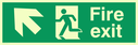 fire exit sign with arrow diagonal up & left & running man facing left Text: fire exit