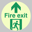 <p>fire exit sign with running man facing right & arrow up, glow in the dark floor graphic.</p> Text: Fire Exit