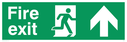 fire exit sign with running man facing right & arrow up Text: fire exit