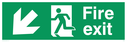 <p>fire exit sign with arrow diagonal down & left & running man facing left</p> Text: fire exit