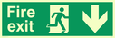 fire exit sign with running man facing right & arrow down Text: fire exit
