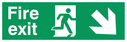 fire exit sign with running man facing right & arrow diagonal down right Text: fire exit