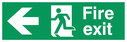 fire exit sign with arrow to left & running man facing left Text: Fire exit sign with arrow to left.