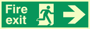 fire exit sign with running man facing right & arrow right Text: fire exit