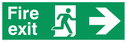 <p>fire exit sign with running man facing right & arrow right</p> Text: fire exit