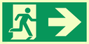 fire exit / emergency exit sign with arrow right & running man right Text: None