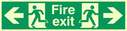 fire exit / emergency exit sign with arrow left & running man facing left & arrow right & running man facing right Text: fire exit