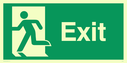 fire exit / emergency exit sign with running man facing left Text: exit