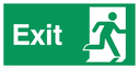 fire exit / emergency exit sign with running man facing right Text: exit