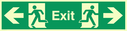 fire exit / emergency exit sign with arrow left & running man facing left & arrow right & running man facing right Text: exit