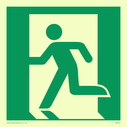 fire exit / emergency exit sign with running man facing left Text: None