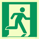 fire exit / emergency exit sign with running man facing right Text: None