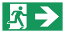 <p>Fire exit right sign on banner material with 6 eyelets for hanging/cable ties. This is a VERY LARGE sign measuring 1m x 2m, ideal for factories and warehouses.</p> Text: