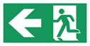 <p>Fire exit left sign on banner material with 6 eyelets for hanging/cable ties. This is a VERY LARGE sign measuring 1m x 2m, ideal for factories and warehouses.</p> Text: