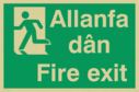 bi-lingual - welsh / english with running man symbol facing left Text: allanfa dan / fire exit