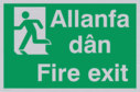 bi-lingual - welsh / english with running man symbol facing left Text: allanfa dan / fire exit