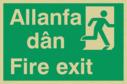 bi-lingual - welsh / english with running man symbol facing right Text: allanfa dan / fire exit