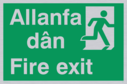 bi-lingual - welsh / english with running man symbol facing right Text: allanfa dan / fire exit