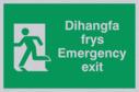 bi-lingual - welsh / english with running man symbol facing left Text: dihangfa frys / emergency exit
