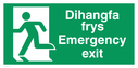 bi-lingual - welsh / english with running man symbol facing left Text: dihangfa frys / emergency exit